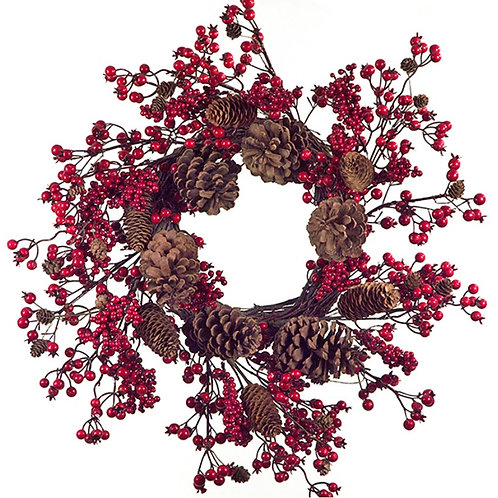 Red berry wreath w/pinecone 61cm