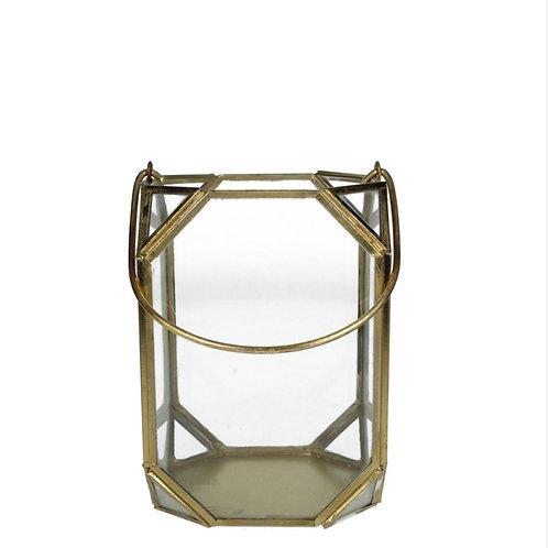 Lantern metal gold 11X11X15cm