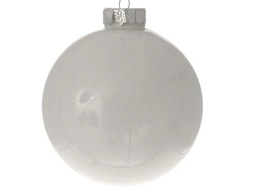 Xmas white glass ball shiny 8cm