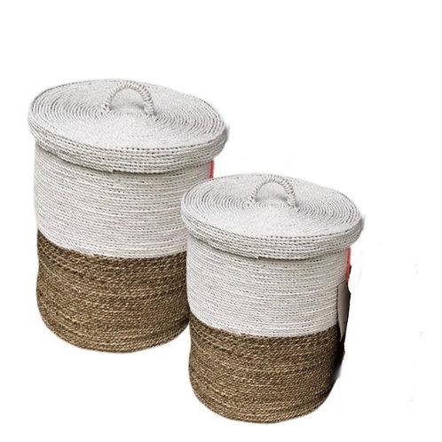 Malang - Storage basket with lid Natural / white medium