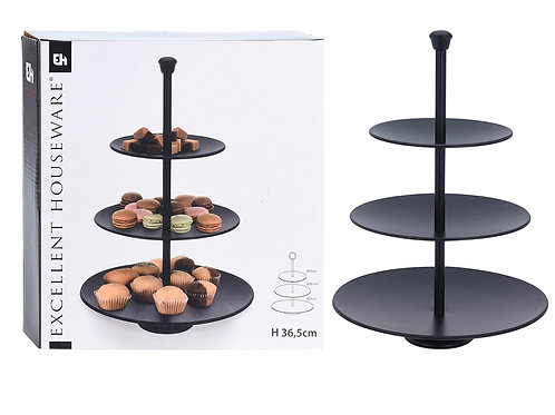 Food stand 3 layers mat black 25-20-15 x 36cm