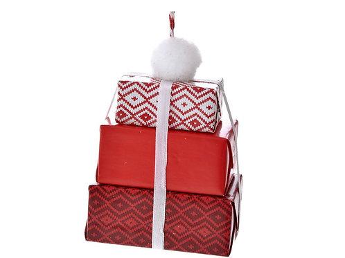 Xmas red paper triple gift ornament 12X8X5cm
