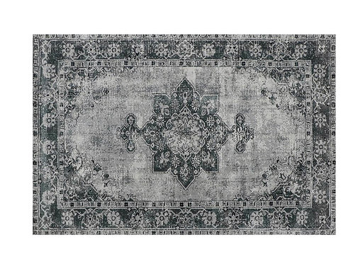 Printed polyester carpet grey/black 120 x 180 cm