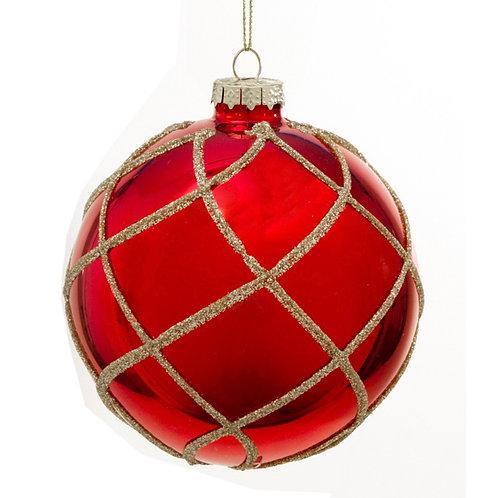 Glass ball 10cm shiny red, gold glitter