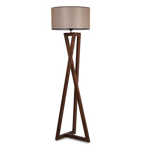 Φωτιστικό δαπέδου ξύλο καρυδί - καπέλο μπεζ Φ45x43x150εκ