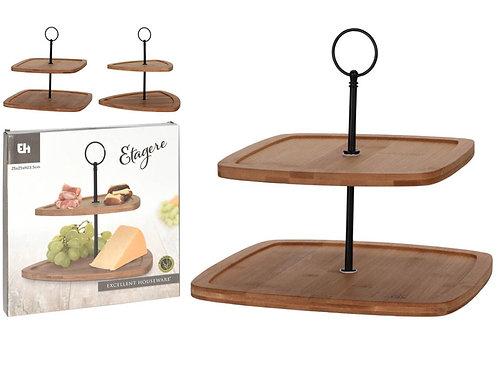 Wood cake stand 25x25x23,5cm