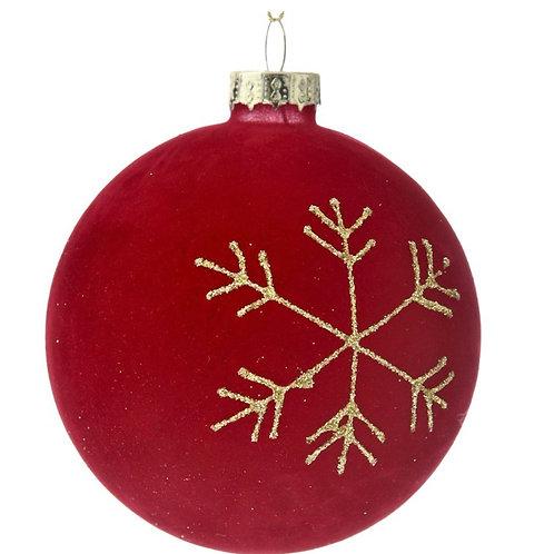 Xmas glass ball red velvet 8cm
