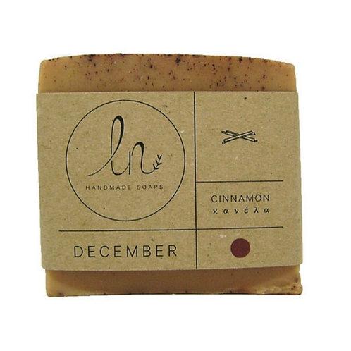 December. Cinnamon. Natural glycerine soap. Around 110g.