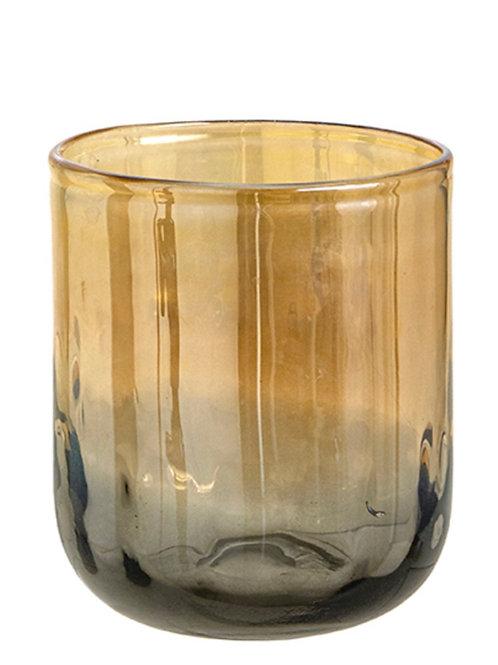 Handmade glass vase amber color w/luster 18cm