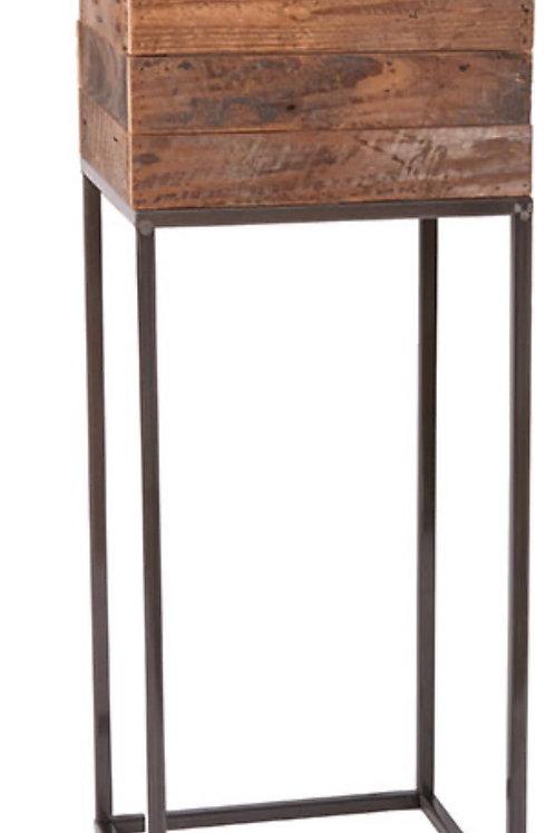 Wood with metal base pot 28 x 28 x 75 cm