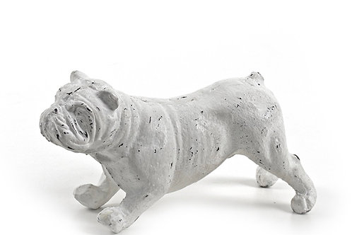 Iron bulldog table decor, white 17,5 cm
