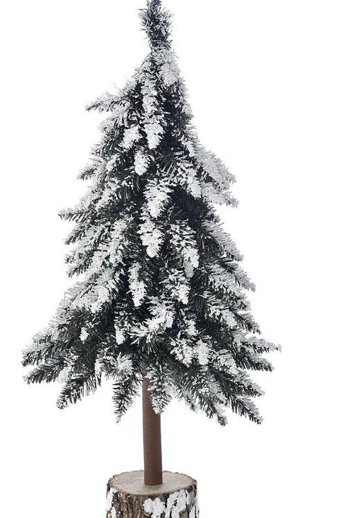 Xmas snowy tree 80Cm on a log