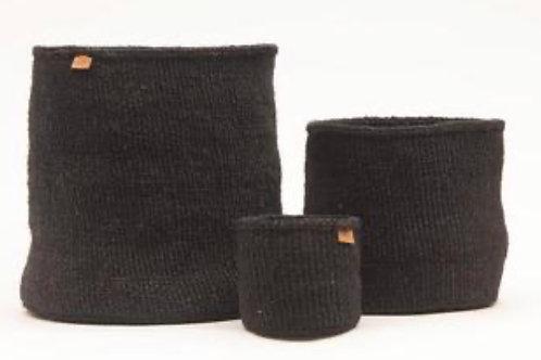USIKU: Black Coal Woven Storage Basket S