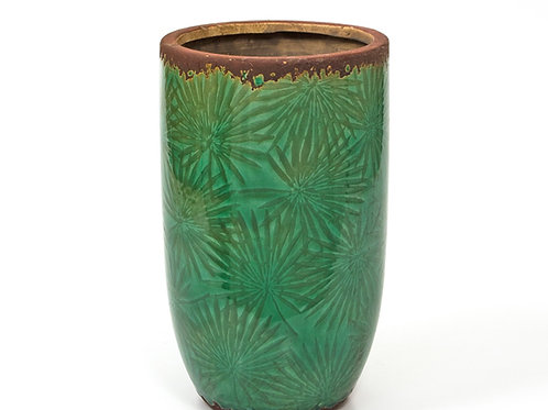 Ceramic glazed vase, palm leaf design, green,25,5 cm