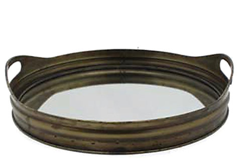 Round metal tray w/mirror, bronze  color 41,5cm
