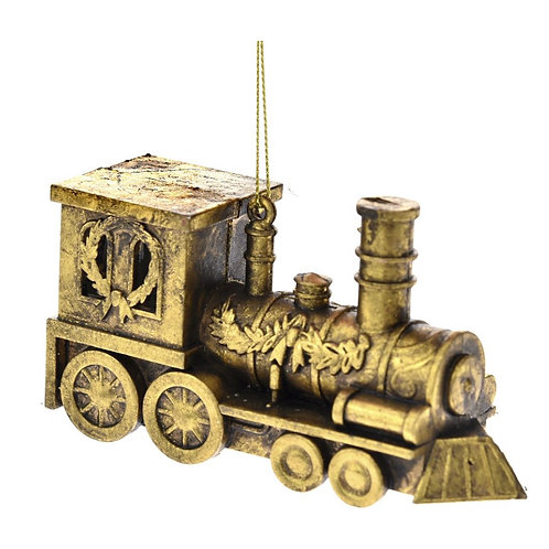 Xmas hanging gold train 7CM ornament