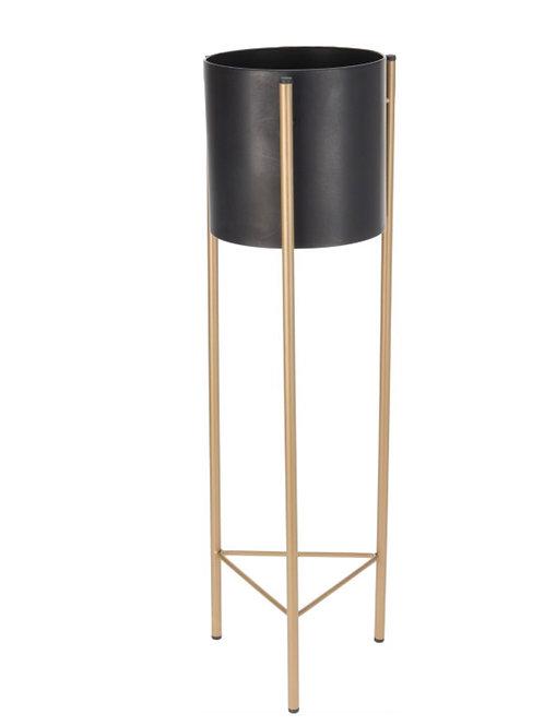 Metal Flower pon on stand, Black/Gold 51cm
