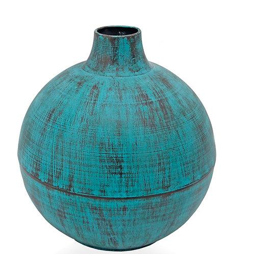 Metalic blue vase 25,5 x 28 cm