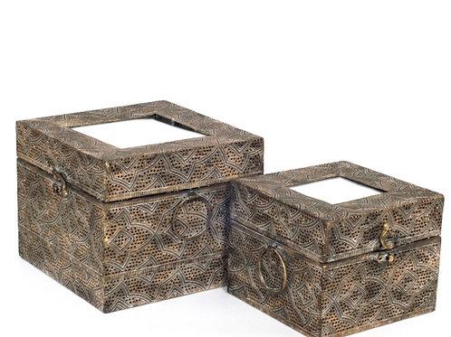 Antique gold metallic box with mirror 16 x 16 x 13 cm