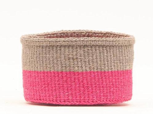 S MALIZA: Grey & Fluoro Pink Colour Block Woven Basket