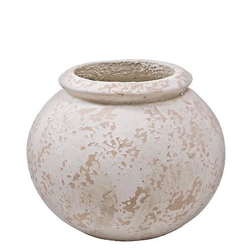 Vase weathered brush, fibercement, cream 31X24cm
