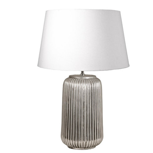 Lamp base, stoneware,cylinder shape silver 23.5X50cm