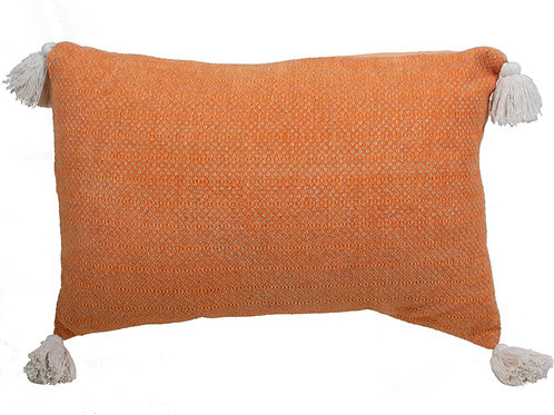 Cotton cushion with tassels orange 40X60Cm