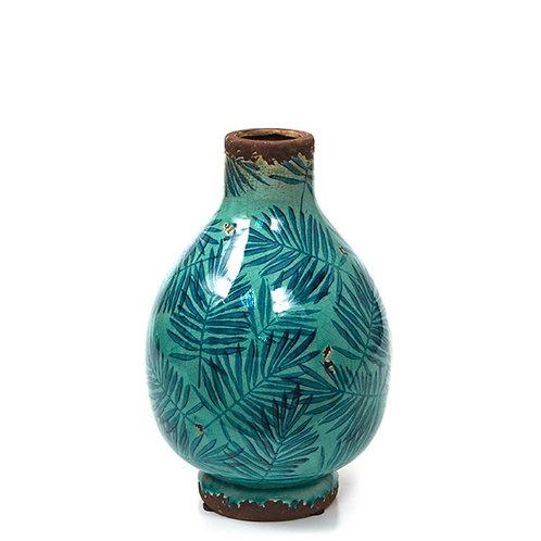Ceramic glazed vase w/areca leaf petrol/blue,24.5cm