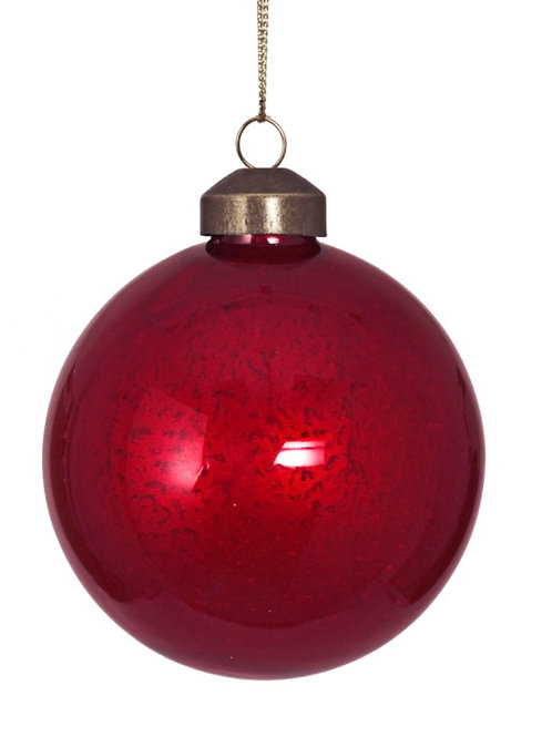 Glass ball with special finish, red 8cm