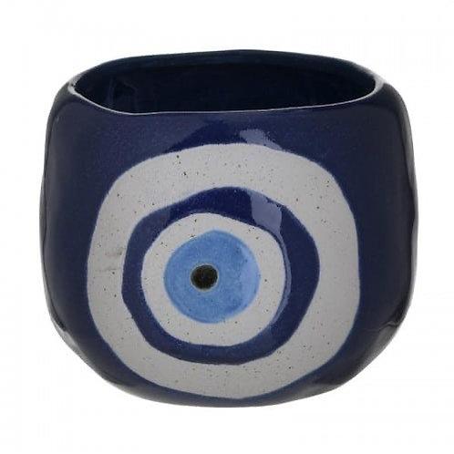 CERAMIC PLANTER EYE WHITE/BLUE Φ17Χ13