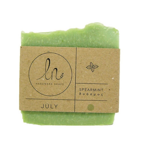 July. Spearmint. Olive oil soap. Around 110g