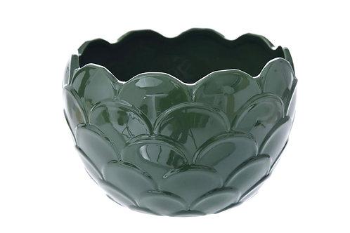 Shinny green ceramic pot D18X12CM