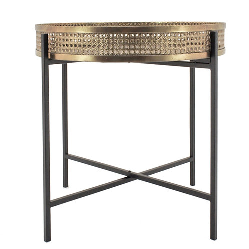 ROUND SIDE TABLE IRON FAUX RATTAN,50.5X52CM