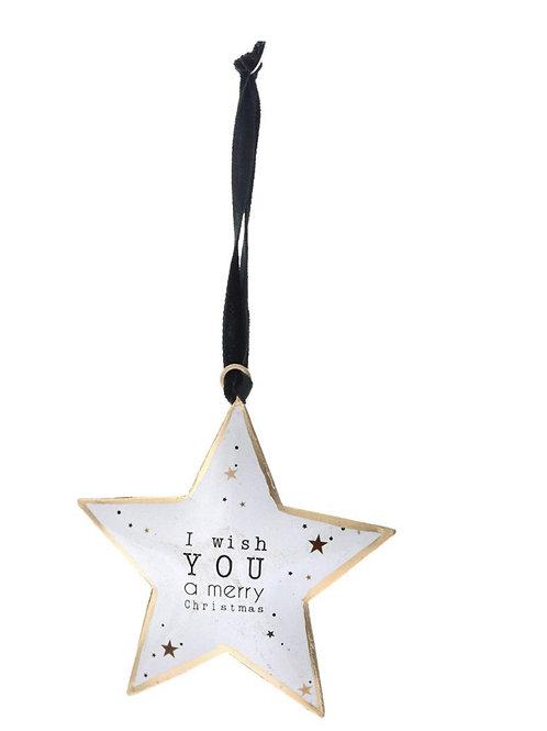 Xmas white metal hanging star 18X14cm