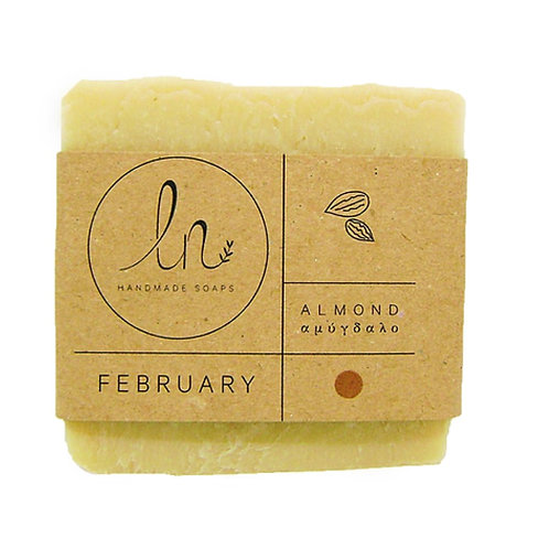 February. The Almond soap - Handmade soap. Olive oil soap. Around 110g.