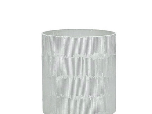 Candle holder glass white  8X8X9cm