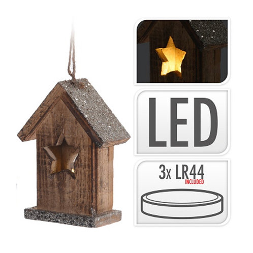 House hanging deco with 1 led, 15cm
