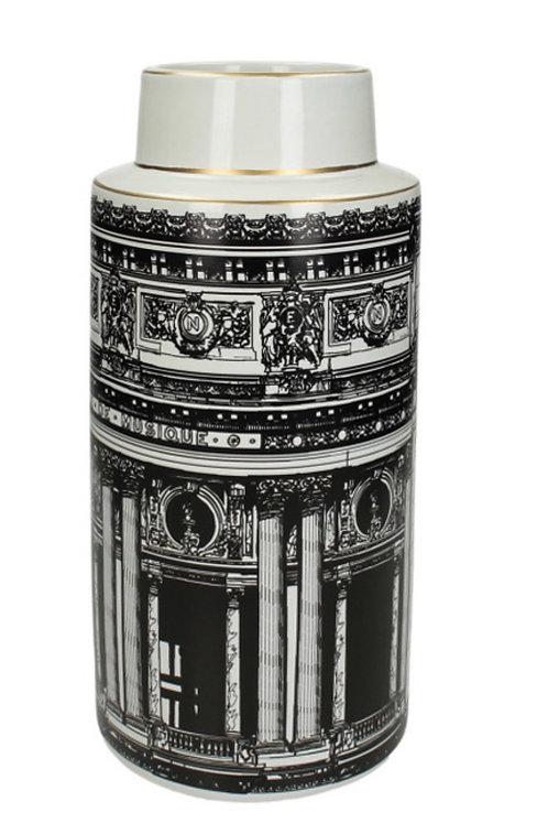 Vase builting fine earthnware black 15X14.5X33cm