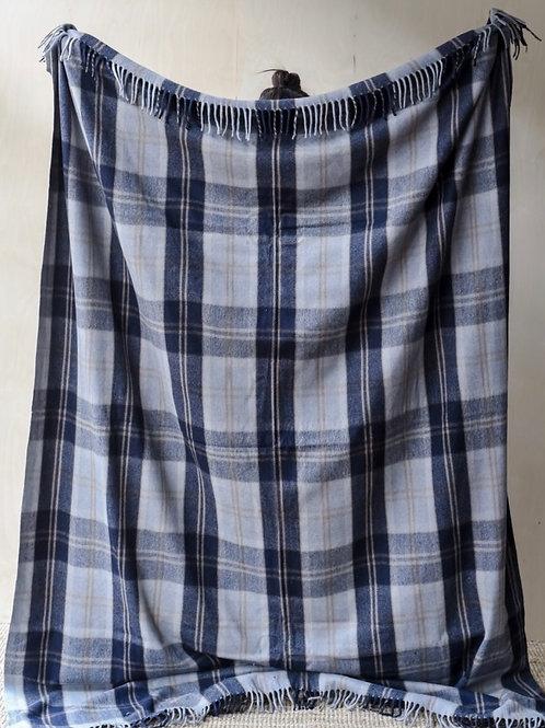 Recycled Wool King Size Blanket in Bannockbane Silver Tartan