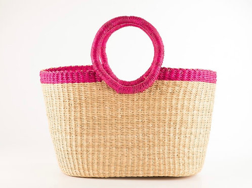 Kann Oval pink rim bolga shopping basket