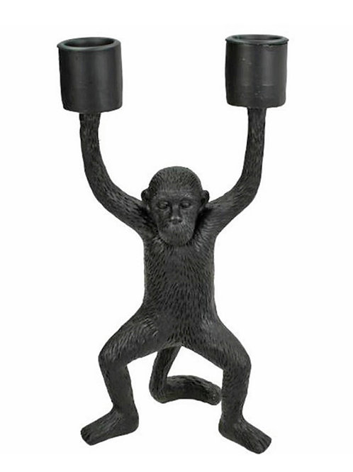 Candle holder monkey polyresin black 10.5X7.5X20cm
