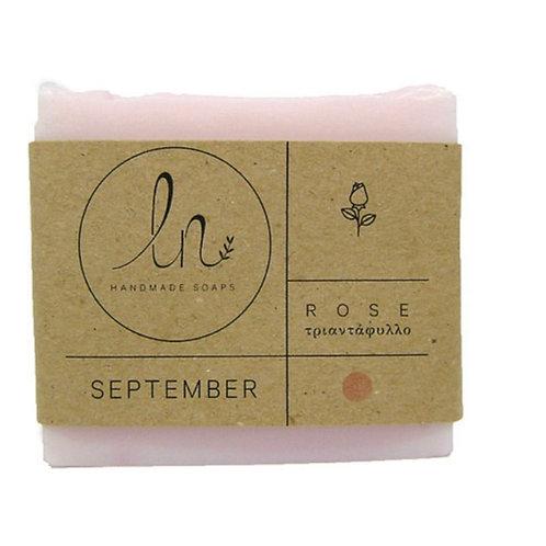September. Rose. Natural glycerine soap. Around 110g.