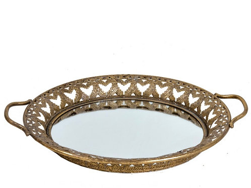 Round Tray with mirror glass, gold,46cm
