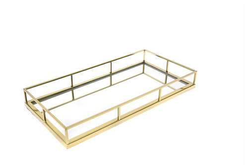 Gold metal trat with mirror 44X22X5cm