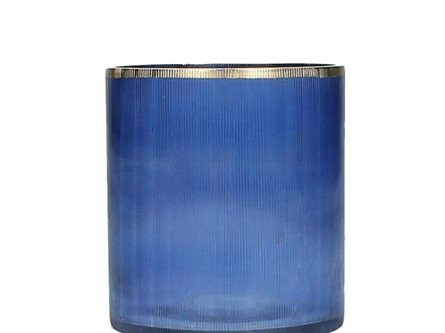 Candle holder glass blue  9X9X10cm