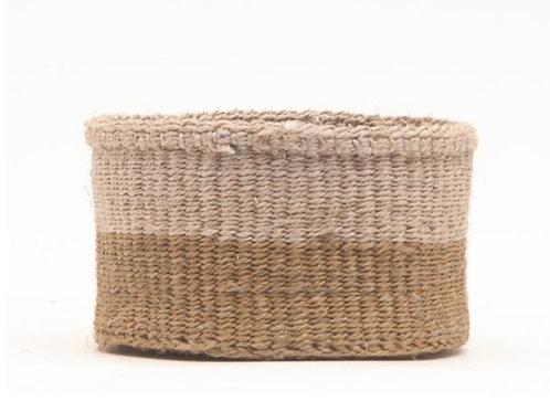 L CHALI: Brown & Grey Colour Block Woven Basket