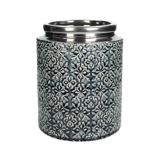 Vase ceramic blue 16.5X16.5X20.5cm