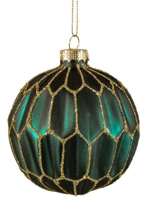 Glass ball green with gold glitter, 8cm