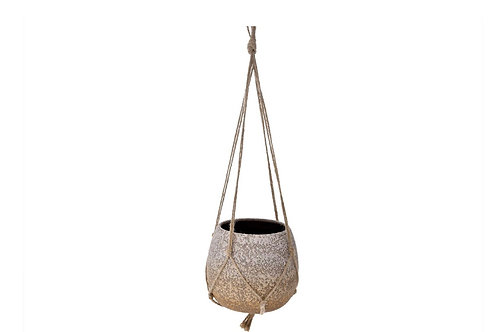 Ceramic hanging planter  D 14X12 with rope