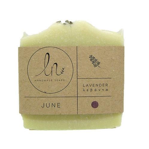 June. Lavender . Olive oil soap. Around 110g